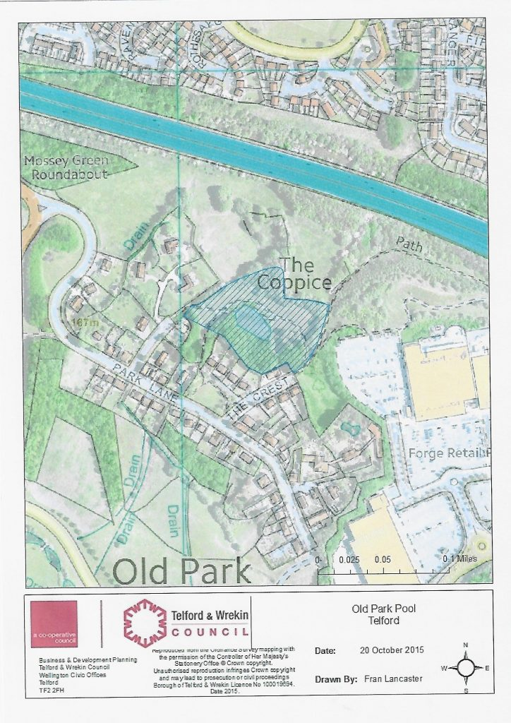 A map depicting the area of Old Park, Telford