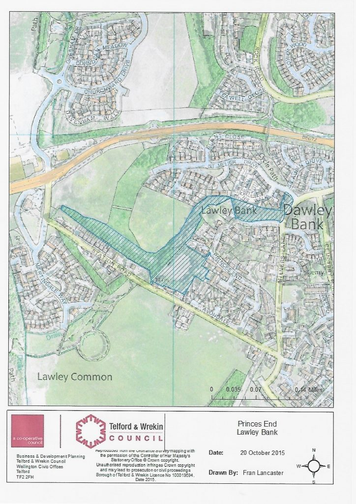A map depicting the area of Princes End, Telford