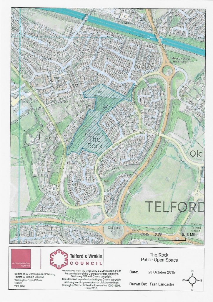 A map depicting the area of The Rock, Telford