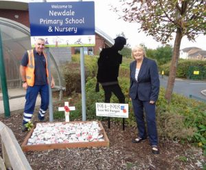 Bob and Jayne at Newdale School's Silent Soldier display