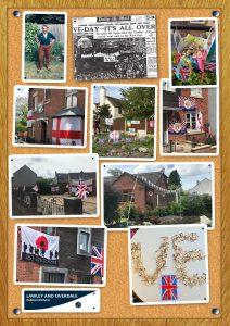 A series of photographs of VE Day celebrations from around the parish. Includes Councillor Jayne Greenaway in period dress, houses decorated with Union Flags and St George's Cross flags, and decorated cakes.