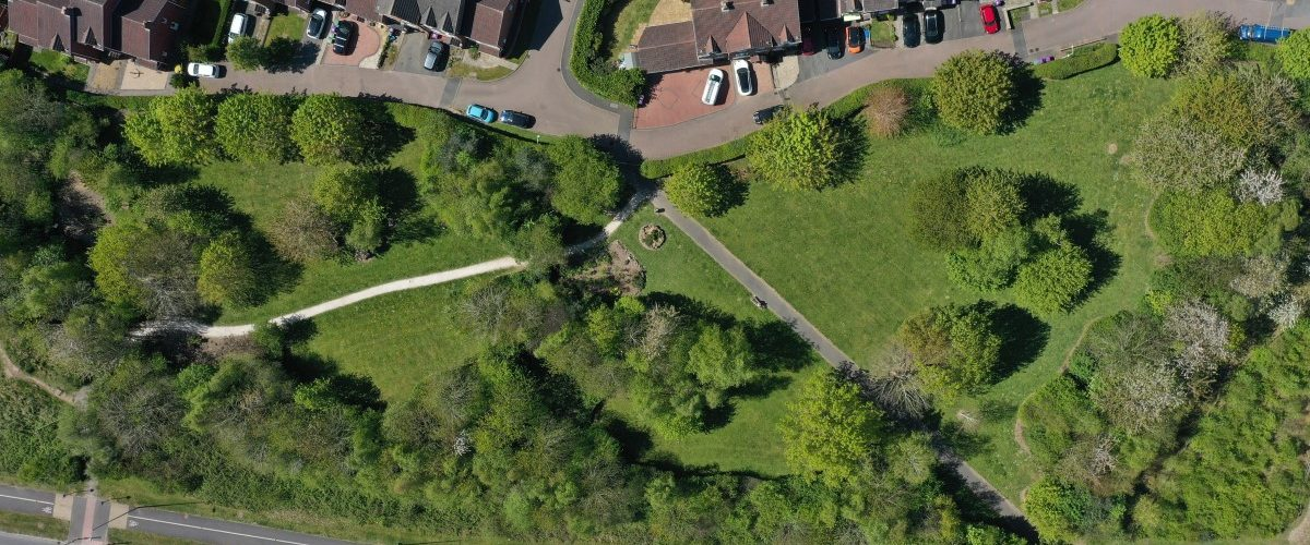 An aerial image of the community garden in Lawley,