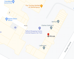 Map image showing the unit at 3A Hazeldine House, Telford Town Centre.