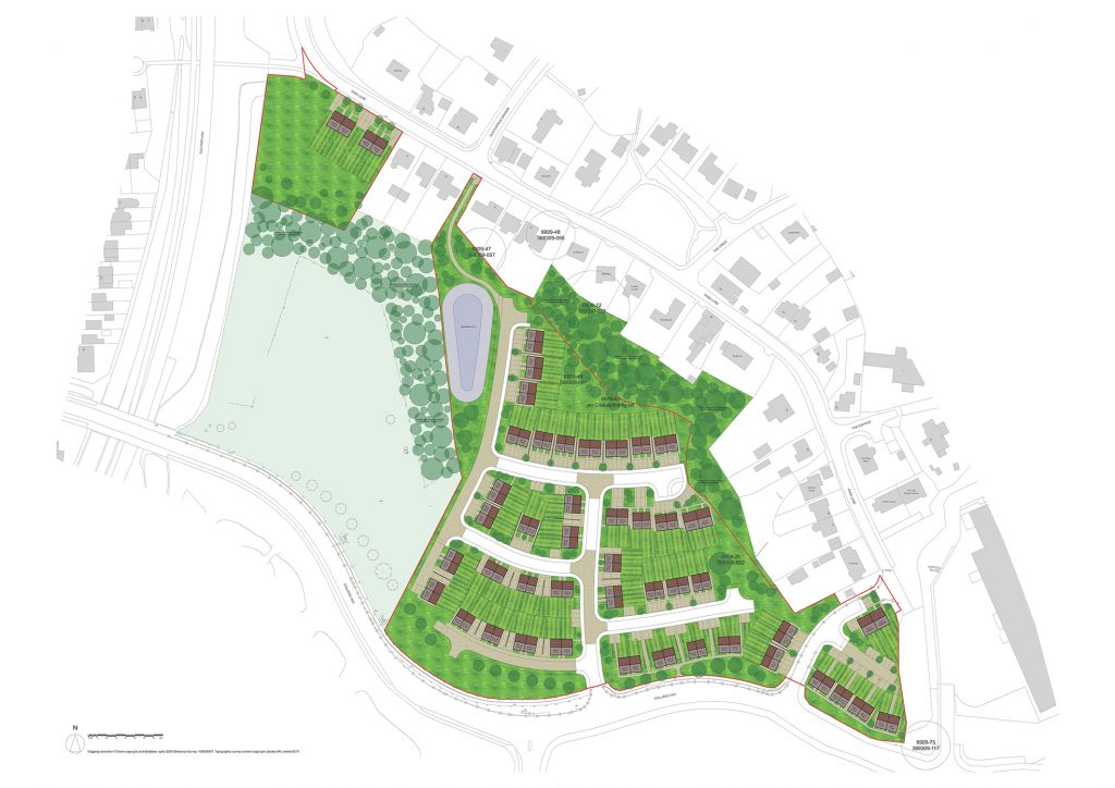 An illustration showing the layout of the proposed housing development between Colliers Way and Park Lane, in Old Park