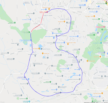A diversion map showing the route for traffic during the closure of the Lawley Common roundabout.