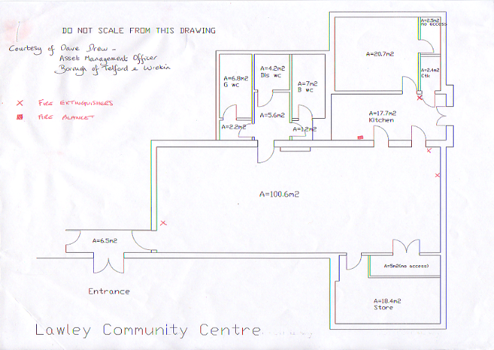 A rough outline of the Lawley Community Centre floor plan, showing the main hall, adjacent toilets, and the kitchen and meeting room.