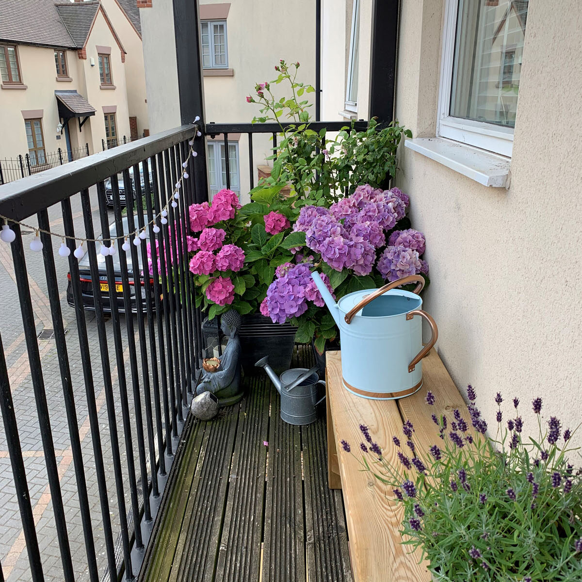 A photo of a narrow balcony, with dense flowers at the end.